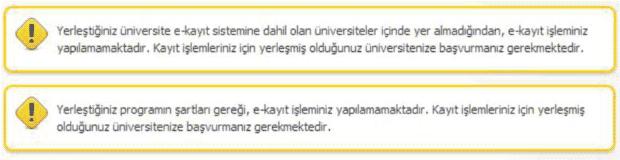 E-Kayıt Kayapamayacak Üniversite ve Bölümler